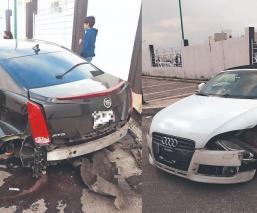 Destrozan autos de lujo en arrancones, frente a fraccionamiento 'fifí' del Edomex
