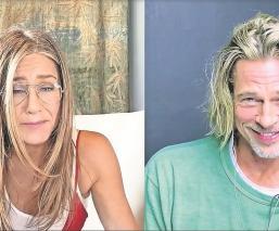 Jennifer Aniston y Brad Pitt se reencuentran virturalmente, él le coquetea en videollamada