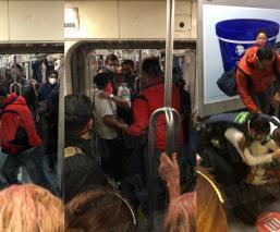 VIDEO: Víctima atora a su asaltante en Metro Chabacano CDMX, usuario y policías lo golpean