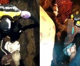 Mujer cae a zanja de dos metros en la alcaldía Cuauhtémoc y policía de tránsito la rescata
