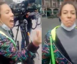 LadyFrenadora agrede a manifestantes anti-AMLO en el zócalo de la Ciudad de México