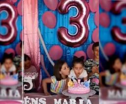 Niña sopla vela de pastel de su hermana y la desgreña en video que se hizo viral