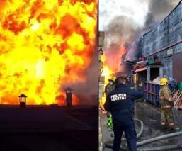 Por ratos, los bomberos logran sofocar el fuego desde las 8:00 horas que comenzó