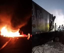 Se quema chofer y camión de refrescos en el Circuito Exterior Mexiquense