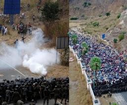 Autoridades de Guatemala detienen con golpes y gas lacrimógeno a migrantes hondureños