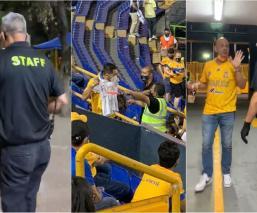 """Se pudo ver como en la tribuna pancartas o camisetas que tenían escrito """"Fuera Tuca"""", les eran retiradas al público"""