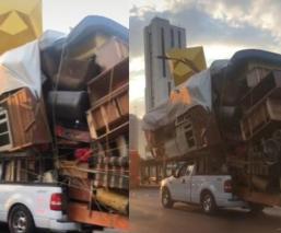 ¡Llevaban hasta a los vecinos! Captan enorme mudanza en calles de la CDMX