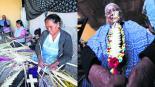 Mujeres otomíes alistan vender cruces tejidas Toluca