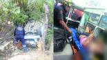Auto volcado Abandona a compañeros Edoméx Zinacantepec