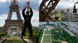Se lanzan de la Torre Eiffel en tirolesa y causan sensación