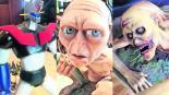 Restaurador reproduce pintar figuras