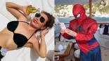 Thalía Traje Spider-Man tobogán playa