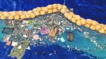 nuevo sistema limpia la isla de plástico de pacifico