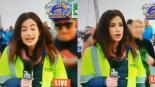reportera nalgada en vivo corredor