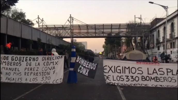 Bloqueo Bomberos Manifestación CDMX