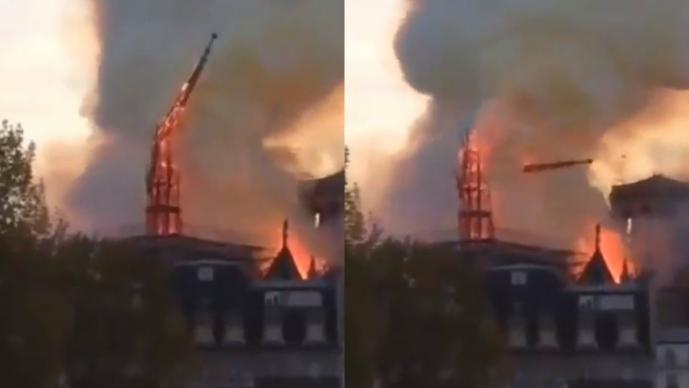 incendio catedran notre dame video aguja colapsa fuego