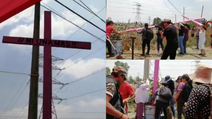 Activistas contra el feminicidio restituyen cruz en Chimalhuacán