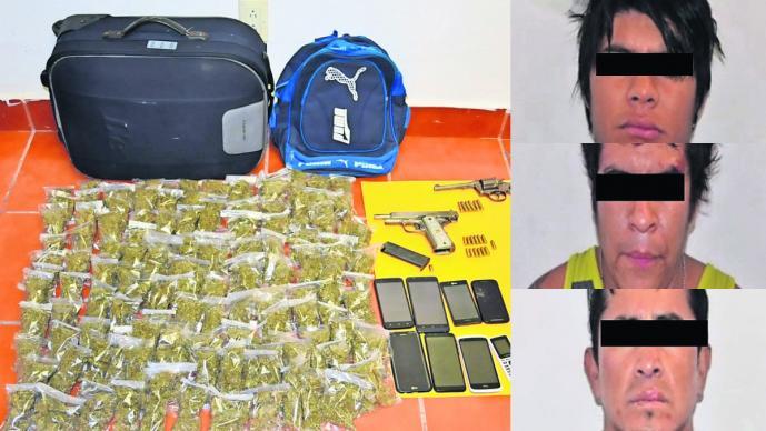 Detienen a seis hombres en Yautepec portaban droga y armas
