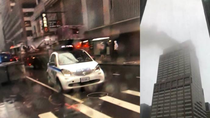 edificio rascacielos helicóptero se estrella impacta fuego incendio bomberos manhattan nueva york