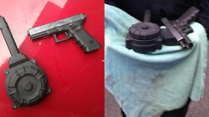 Balacera en Tlalpan Decomisan pistola 9mm Cargador de tambor CDMX