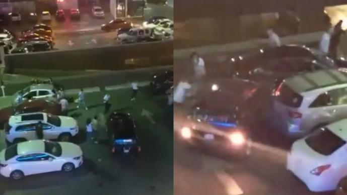 Conductor furioso Arrolla a enemigos Batalla de bandos Monterrey Nuevo León