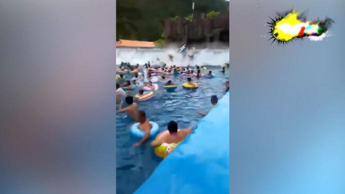 tsunami alberca piscina china heridos hospital