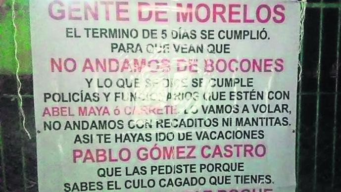 Narcomantas Morelos Mando Único amenazan policías narcotraficantes narcomensaje Cuernavaca puentes peatonales