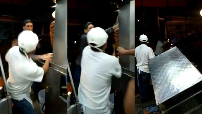 #LordTacos Hombre intenta golpear a taquero y tira trompo al pastor en Tlalpan