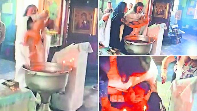 sacerdote sacude bebé bautizo violento video provoca lesiones Rusia