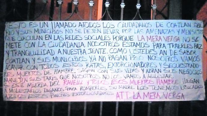 Grupo delictivo deja narcomantas en Morelos y piden a ciudadanos no entrar en sicosis