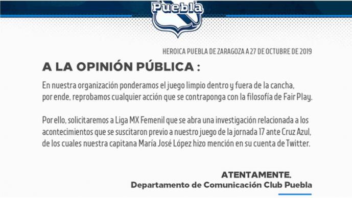 Tras supuesto acoso, Puebla pide investigación a la Liga MX Femenil