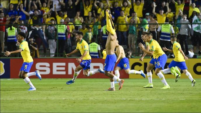 Los brasileños festejan el campeonato en la cancha