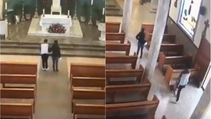 pareja ladrones roban iglesia san francisco de asís nuevo león apodaca limosnas se llevan dinero video cámara los detienen policías