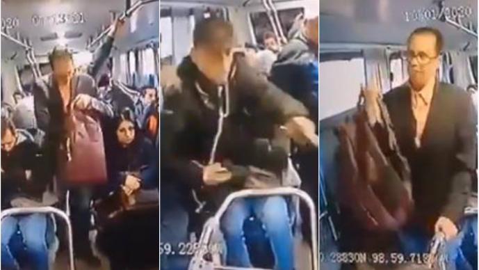 VIDEO: Sujeto trajeado asalta a pasajeros de un autobús, en la México-Pachuca