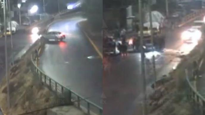 Conductor se vuelca en Naucalpan y cámaras de video revelan el brutal accidente