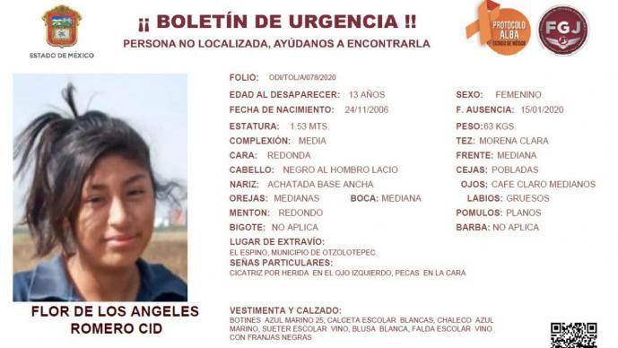 Flor de los Ángeles tiene 13 años y desapareció con su compañera de clases Yudith, Edomex