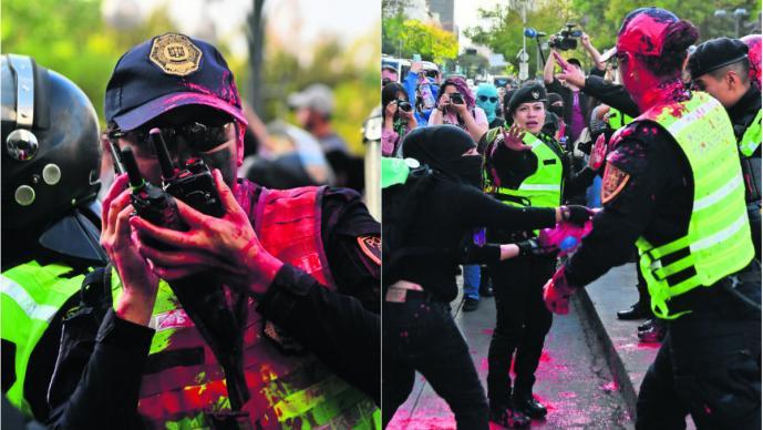 Feministas agreden a mujeres policías en plena manifestación, en Bellas Artes