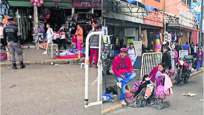Policías retiran a vendedores ambulantes de la Terminal-Mercado Juárez, en Toluca