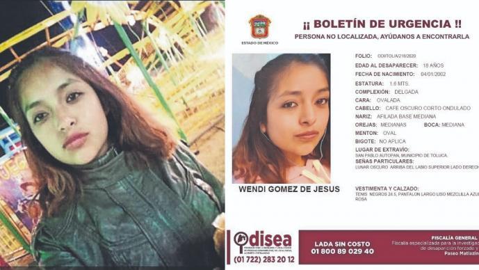 Familiares identifican en un video a Wendi de 18 años, joven desaparecida en Edomex