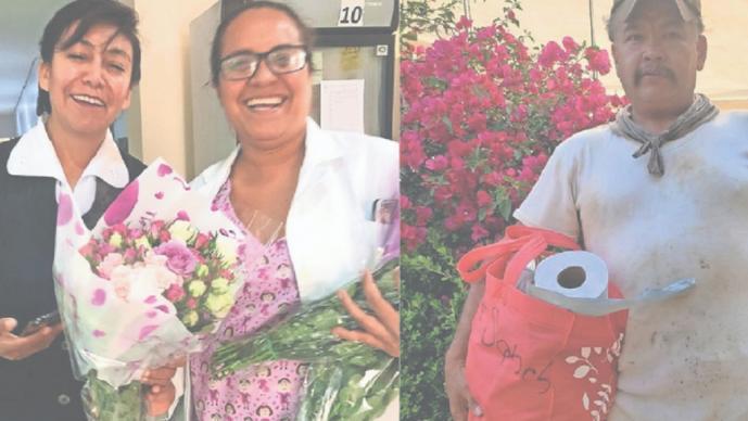 Arman trueque de arreglos florales por alimentos en Estado de México