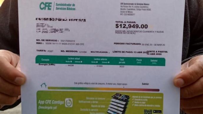 Recibos de luz se disparan un 400% derivado del confinamiento, en el Valle de Toluca