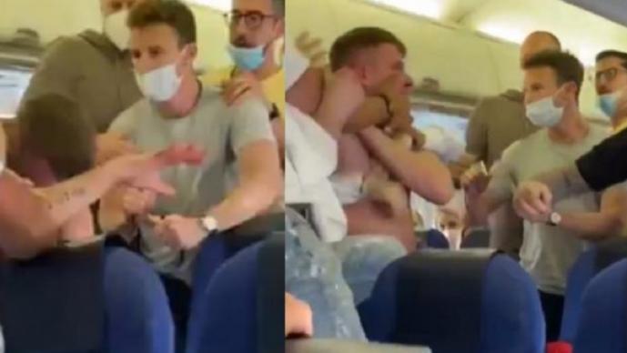 Pasajeros de avión atacan a hombre por no llevar cubrebocas