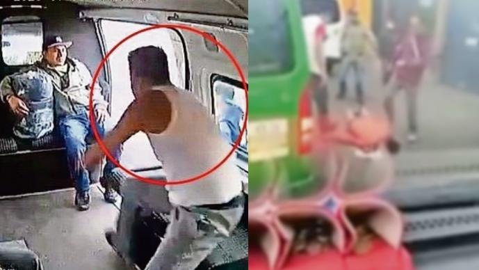 Identifican al asaltante golpeado en combi del Edomex, era guardia de seguridad