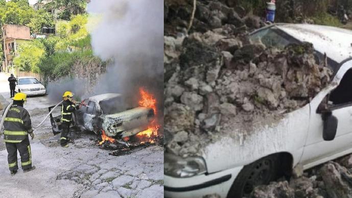 Les tocó la mala suerte a dos carros en Morelos, uno se incendia y al otro se le cae una barda
