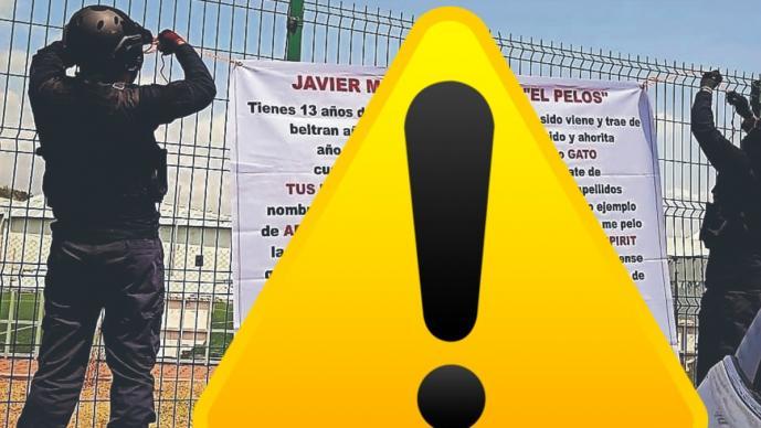 Encapuchados cuelgan narcomanta contra agentes en La Barona, en Morelos
