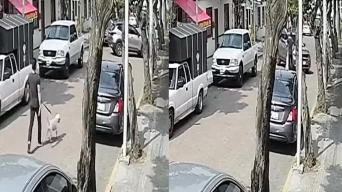 Auto atropella a joven que iba con su perrito y el video aterra en redes, en la CDMX