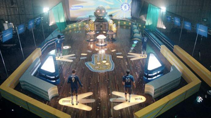 Los jugadores del Chelsea en la mesa de pinball