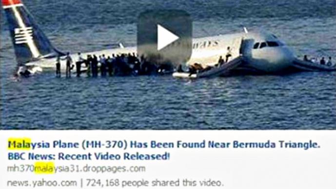 Hackers se aprovecham del avión de Malasia Airlines desaparecido