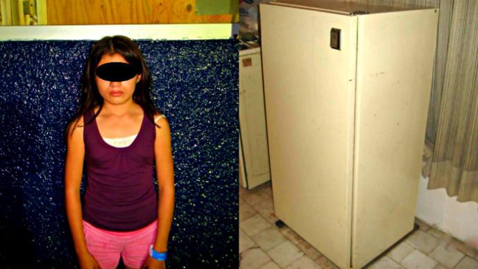 Niña cambiada por refrigerador