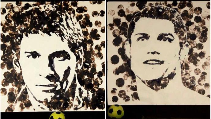 Las pinturas de Messi y CR7 hechas con un balón